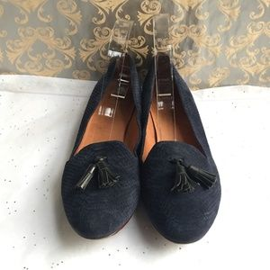 Madewell Blue Embossed Suede Tassel Loafer  Size 9